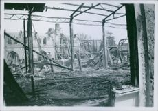 War damages in Denmark during the German occupation. A view of burnt and destroyed infrastructure. 1944