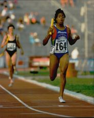 Goodwill Games Michelle Colins from the United States ran the last stretch of 4 x 400m