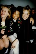Actress Sharon Stone together with his sister Kelly and the designer Zang Toi during the NYC fashion show