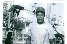 """Danny Glover on the set of a 1991 American drama film, """"Grand Canyon""""."""