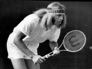 Ray Moore concentrates with his tongue out during the match against Ron Holmberg in Wimbledon in 1970