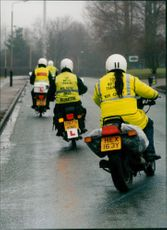 Learner motorcyclists take to the road.