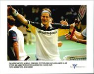 Tennis player Fredrik Fetterlein is delighted with the win over Stefan Edberg in the Davis Cup