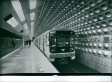 1979 Prague's Modern Metro A Soviet-built train pulling into Hradcanska station on a new section of the Prague metro system.