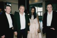 John Hurt, Jeremy Thomas, Naomi Campbell and Bernardo Bertolucci at the Cannes Film Festival