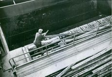 A male worker working.
