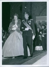 Princess Alexandra of Kent with her partner walking down the aisle.