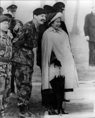 Queen Elizabeth inspects the Gurkhas soldiers in Crookham