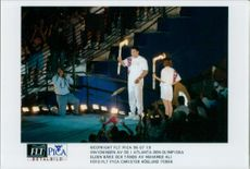 The opening of the Olympic Games in Atlanta: The Olympic Fire is worn and lit by Muhamed Ali