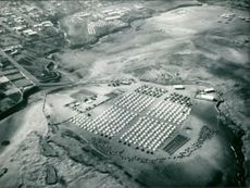 Aerial view of relief camp at Ethiopia.