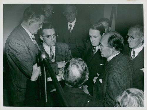 Group upon display of the post's new stamp printing