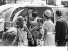 Caroline Kennedy passing by helicopter.