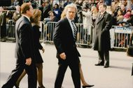 Joe Kennedy with wife Elizabeth Kelly and Maria Shriver with husband Arnold Schwartzenegger attending Rose Kennedy's funeral