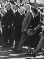 Queen Federika of Greece, Charles de Gaulle, Heinrich Luebke, during John F. Kennedy's funeral, 1963.