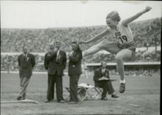 Swedish Greta Magnusson flies through the air in the women's long jump