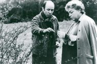 """Nature lover Simone Signoret inspects some flowers during the recording of """"Judith Therpauve"""""""
