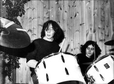 Julian Lennon plays drums with her friend Justin Clayton