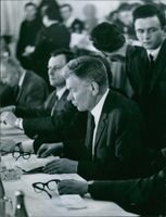 Josef Smrkovsky at a meeting in the Congress Palace in Prague. 1968.