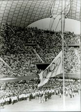 The flag waved at the half-pole at the Olympic Stadium where a memorial ceremony was held over the victims of the terrorist attack.