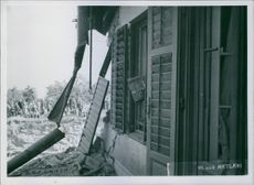 A view of destructed house in Hungary during World II.