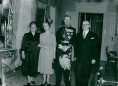 The King of Sweden King Kung Gustaf VI Adolf and Queen Louise visit Finland in 1952. The Swedish King's Parade together with Finland's presidential couple at the Palace in Helsinki.