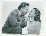 """Mickey Rooney and Terry Moore in the movie """"Bandit's Superman"""""""