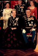 Queen Margrethe and Prince Henrik of Denmark at the celebration of Queen Margrethe 25 years as a regent.