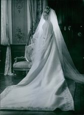 Diane, Duchess of Württemberg wedding picture. France, 1960.
