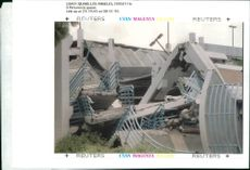 The 1994 Northridge earthquake USA:the upper level of the parking garage at california.