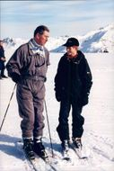 Prince Charles with Prince Harry in the ski slope