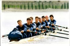 Oxford boat on Thames during training for the Boat Race