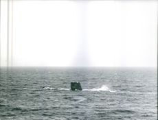 The French Submarine Minerve (S647) in the sea.