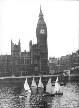 "The annual sailing racing ""Cope Trophy"". Here on the River Thames in London, in the shadow of Big Ben. The boats belong to members of the ""GLC staff sailing club""."