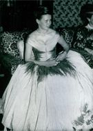 Lady Sarah Armstrong-Jones attending an official function. 1987.