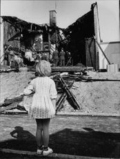 The remains of the brick house in Hässelby where three children were burnt alive