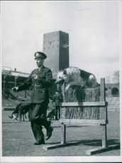 Constable Gustav Eriksson at a show at the stadium. 1955
