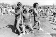 Marty Feldman (in the middle) at a celebrity event in Hollywood.