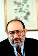 Italian author Umberto Eco is interviewed at the Grand Hotel