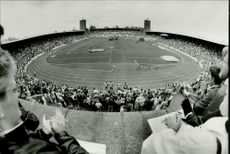 Stockholm Marathon 1987. The winner Kevin Forster at the Stockholm Stadium