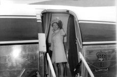 Princess Margaretha standing on entrance of airplane.