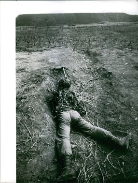 Soldier taking his position during war in Formosa.