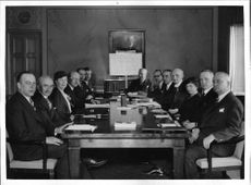 Red Cross management and the board sitting at large table, including the Chairman, Prince Carl - 1 May 1938