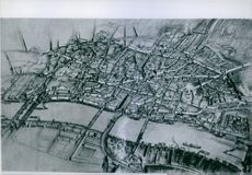 Plan of the City of London as it look after rebuilding. In the right corner The Tower.