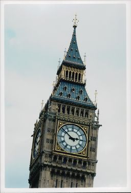 The famous landmark Big Ben in London. Close-up of the clock view.