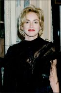 Sharon Stone photographed during dinner party organized by Pamela Harriman at the US Embassy in Paris