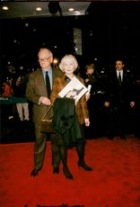 "Actor Paul Newman with his wife Joanne Woodward on the red carpet at the premiere of the movie ""Twilight"""