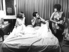 Catherine Spaak and Antonio Sabàto in bed with Claudia Cardinale, on set of Certo certissimo... anzi probabile.