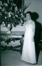 A photo of a Princess standing looking something.  1968 Princess Lobkowicz