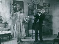 Nils Poppe as Fabian Bom and Sif Ruud as Adela Pettersson in the film Pappa Bom (Daddy Boom), 1949.
