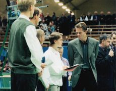 Stefan Edberg awarded a scholarship for young tennis players at the Stockholm Open 1996